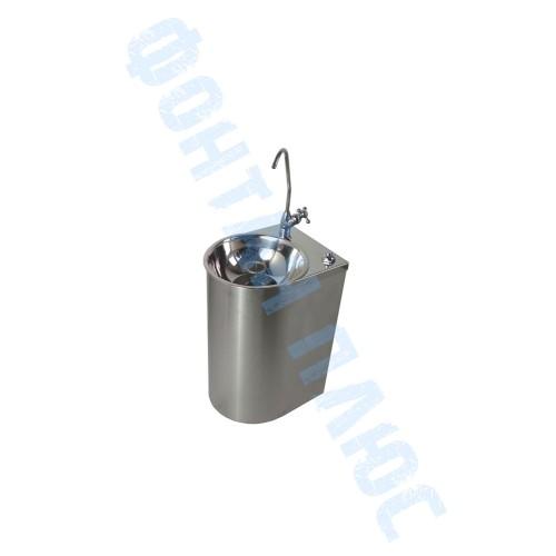 Фонтанчик питьевой Родничок-3 настенный с поворотным краном, кнопкой и СанПиН кольцом